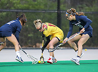 College Park, MD - April 19, 2018: Maryland Terrapins Caroline Steele (11) gets a ground ball during game between Penn St. and Maryland at  Field Hockey and Lacrosse Complex in College Park, MD.  (Photo by Elliott Brown/Media Images International)
