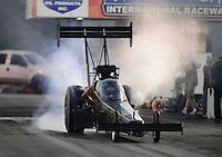 Jan. 16, 2013; Jupiter, FL, USA: NHRA top fuel dragster driver Brittany Force during testing at the PRO Winter Warmup at Palm Beach International Raceway.  Mandatory Credit: Mark J. Rebilas-