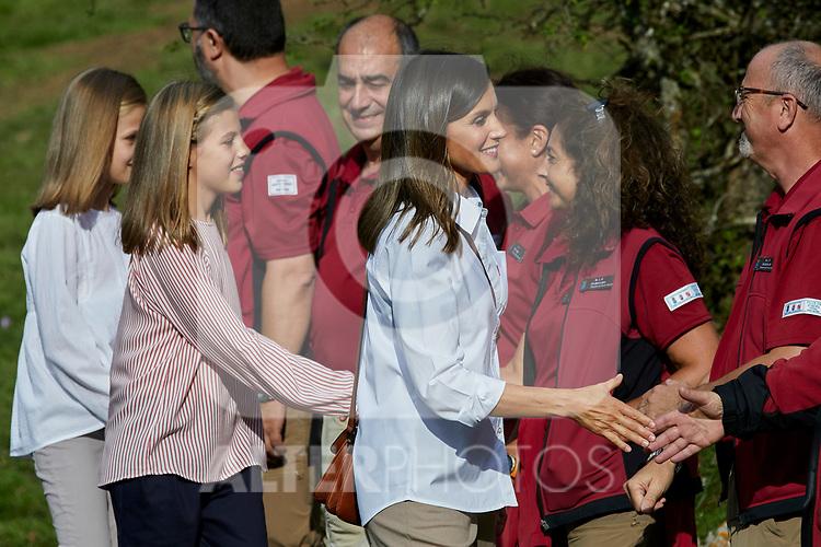 Queen Letizia of Spain, Princess Leonor of Spain and Princess Sofia of Spain visit the Enol lake in Asturias, Spain. September 08, 2018. (ALTERPHOTOS/A. Perez Meca)