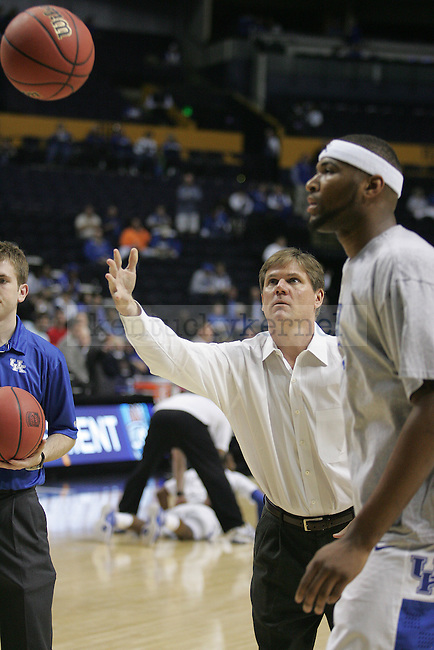 Assistant coach John Robec helps warm up players before the UK mens basketball team's 73-67 win over Alabama in the quarterfinals of the SEC tournament at the Sommet Center Friday, March 12, 2010. Photo by Britney McIntosh | Staff