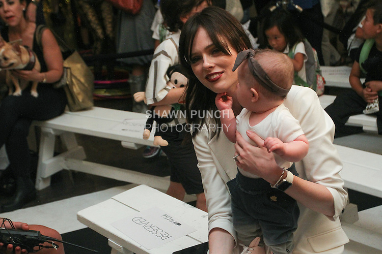 "Super model Coco Rocha and her daughter Ioni James Conran, attend the Industries Children's Spring Summer 2016 ""Circus Jumble"" collection fashion show, during New York Fashion Week Spring 2016."