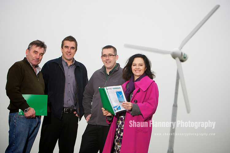 Pix: Shaun Flannery/shaunflanneryphotography.com...COPYRIGHT PICTURE>>SHAUN FLANNERY>01302-570814>>07778315553>>..11th November 2011……………..Harbon Wind Turbines..Linpool Farm, Stripe Road, Doncaster, DN11 9HQ..Caroline Flint MP, Shadow Secretary of State for Energy & Climate Change visits Doncaster based Harbon Wind Turbines..L-R are partners Richard Crowe, Chris Harbon & Dave Harbon.