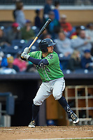 Sean Kazmar Jr. (4) of the Gwinnett Braves at bat against the Durham Bulls at Durham Bulls Athletic Park on April 20, 2019 in Durham, North Carolina. The Bulls defeated the Braves 11-3 in game one of a double-header. (Brian Westerholt/Four Seam Images)