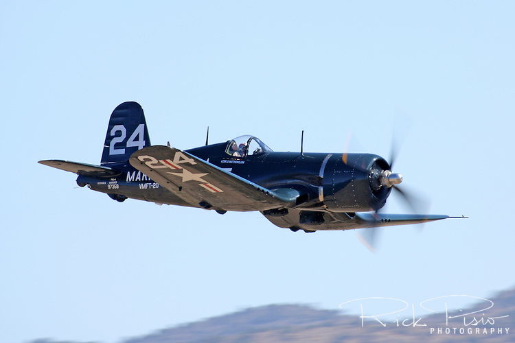 Jimmy Leeward pilots the Doug Matthews owned Chance Vought F4U-4 Corsair  during the 2009 Reno National Championship Air Races Unlimited Bronze finals. Jimmy finished the race in 4th position at a speed of 323.395 miles per hour. The Corsair is best known as a Marine Corps World War II era fighter that served with distinction in the Pacific Theatre.