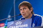 Chelsea's coach Antonio Conte attends to press conference before UEFA Champions League match between Atletico de Madrid and Chelsea at Wanda Metropolitano in Madrid, Spain September 26, 2017. (ALTERPHOTOS/Borja B.Hojas)