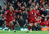 27th October 2019; Anfield, Liverpool, Merseyside, England; English Premier League Football, Liverpool versus Tottenham Hotspur; Jordan Henderson of Liverpool celebrates after scoring his team's equalising goal after 52 minutes - Strictly Editorial Use Only. No use with unauthorized audio, video, data, fixture lists, club/league logos or 'live' services. Online in-match use limited to 120 images, no video emulation. No use in betting, games or single club/league/player publications