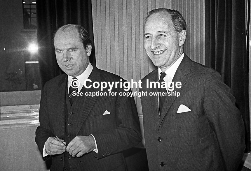 N Ireland Prime Minister, Captain Terence O'Neill (right) with his Minister of Commerce, Roy Bradford, January, 1969. 196901000014<br /> <br /> Copyright Image from Victor Patterson, 54 Dorchester Park, Belfast, UK, BT9 6RJ<br /> <br /> t1: +44 28 9066 1296<br /> t2: +44 28 9002 2446<br /> m: +44 7802 353836<br /> <br /> e1: victorpatterson@me.com<br /> e2: victorpatterson@gmail.com<br /> <br /> IMPORTANT: My Terms and Conditions of Business are at www.victorpatterson.com