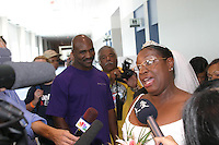Evander Holyfield gave away bride Rebecca Warren to her groom Joseph Smothers as they were married in the Houston Astrodome, a shelter for hurricane Katrina evacuees in 2005.