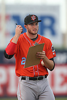 Mark Sappington #25 of the Inland Empire 66ers during a playoff game against the Lancaster JetHawks at The Hanger on September 7, 2014 in Lancaster, California. Lancaster defeated Inland Empire, 5-2. (Larry Goren/Four Seam Images)