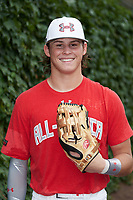 Conner Uselton (14) of Southmoore High School in Oklahoma City, Oklahoma poses for a photo before the Under Armour All-American Game presented by Baseball Factory on July 23, 2016 at Wrigley Field in Chicago, Illinois.  (Mike Janes/Four Seam Images)