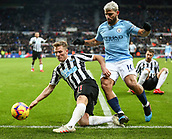 29th January 2019, St James Park, Newcastle upon Tyne, England; EPL Premier League football, Newcastle United versus Manchester City; Matt Ritchie of Newcastle United stops the ball from going out of play after Sergio Aguero of Manchester City was tackled