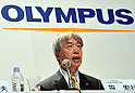 October 1, 2012, Tokyo, Japan - President Hiroyuki Sasa of Olympus Corp. speaks during a news conference in Tokyo on Monday, October 1, 2012, following the announcement of its tie-up with the scandal stricken Sony Corp...Olympus and Sony have concluded a capital and business tie-up agreement to shore up the scandal-hit Japanese medical equipment and camera maker, and will set up a joint firm to expand their medical operations. With the alliance, Sony will become Olympus' leading shareholder by acquiring a stake of around 11 percent with investment of about 50 billion yen, aiming to expand its medical business as an area of potential growth.  (Photo by Natsuki Sakai/AFLO) AYF -mis-