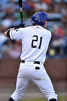Asheville Tourists center fielder David Dahl #21 in the on deck circle during a game against the Savannah Sand Gnats at McCormick Field July 16, 2014 in Asheville, North Carolina. The Tourists defeated the Sand Gnats 6-3. (Tony Farlow/Four Seam Images)
