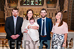 Baby Sean Kiely with his parents Grace & Shane Kiely, Listowel and god parents DJ  Kiely & Aisling O'Carroll who was christened at St. Mary's Church. Listowel by Canon Declan O'Connor on Sunday last and afterwards at Eabha Joan's Restaurant, Listowel.