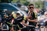 Adam Yates' (GBR/Mitchelton-Scott) pre-race warm-up<br /> <br /> Stage 3 (Team Time Trial): Cholet > Cholet (35km)<br /> <br /> 105th Tour de France 2018<br /> ©kramon