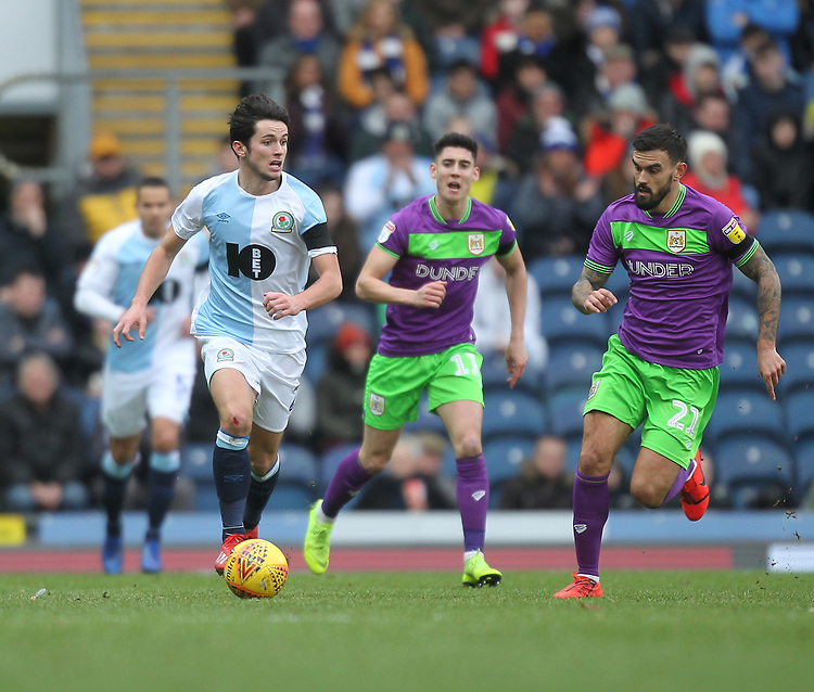 Blackburn Rovers Lewis Travis in action with Bristol City's Marlon Pack<br /> <br /> Photographer Mick Walker/CameraSport<br /> <br /> The EFL Sky Bet Championship - Blackburn Rovers v Bristol City - Saturday 9th February 2019 - Ewood Park - Blackburn<br /> <br /> World Copyright &copy; 2019 CameraSport. All rights reserved. 43 Linden Ave. Countesthorpe. Leicester. England. LE8 5PG - Tel: +44 (0) 116 277 4147 - admin@camerasport.com - www.camerasport.com