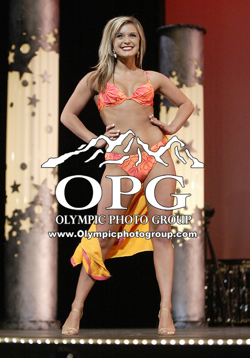 12 July, 2008:    Miss Northwest Kara Ann Pedrini shows off her swim wear in the Physical Fitness in Swim wear competition at the 2008 Miss Washington pageant at the Pantages Theater in Tacoma , Washington.