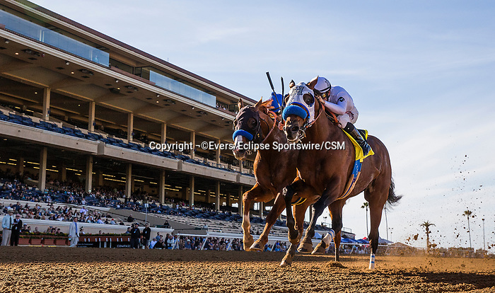 November 25, 2018: Battle of Midway (right) with Flavien Prat aboard outdoes Dabster and Joe Talamo to win the Native Diver Stakes at Del Mar on November 25, 2018 in Del Mar, California. Evers/Eclipse Sportswire/CSM