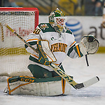 18 December 2016: University of Vermont Catamount Goaltender Stefanos Lekkas, a Freshman from Elburn, IL, warms up prior to a game against the Union College Dutchmen at Gutterson Fieldhouse in Burlington, Vermont. The Catamounts fell to their former ECAC hockey rivals 2-1, as the Dutchmen sweep the two-game weekend series. Mandatory Credit: Ed Wolfstein Photo *** RAW (NEF) Image File Available ***