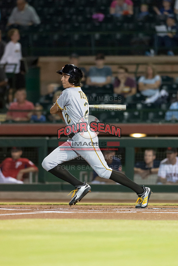 Surprise Saguaros shortstop Cole Tucker (2), of the Pittsburgh Pirates organization, follows through on his swing during an Arizona Fall League game against the Scottsdale Scorpions at Scottsdale Stadium on October 15, 2018 in Scottsdale, Arizona. Surprise defeated Scottsdale 2-0. (Zachary Lucy/Four Seam Images)