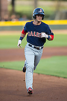 Andrew Benintendi (16) of the Salem Red Sox runs towards third base during the game against the Winston-Salem Dash at BB&T Ballpark on April 15, 2016 in Winston-Salem, North Carolina.  The Red Sox defeated the Dash 3-2.  (Brian Westerholt/Four Seam Images)