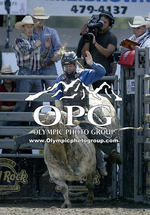 30 Aug 2009:  Jarred Craig riding the bull Dirty Deal scored a 80 on his ride during the Extreme Bulls tour stop in Bremerton, Washington.  Bremerton was the last stop in the Wrangler Million Dollar Pro Rodeo Silver Tour for 2009.