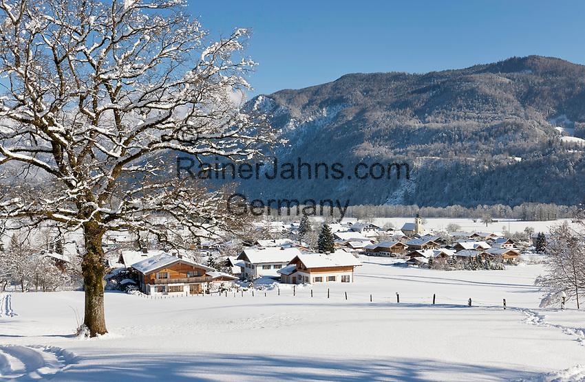 Deutschland, Oberbayern, Chiemgau, Schleching im Winter | Germany, Upper Bavaria, Chiemgau, Schleching at wintertime