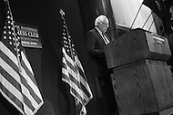 Washington, DC - May 1, 2016: Sen. Bernie Sanders prepares to speak to members of the press at the National Press Club in the District of Columbia, May 1, 2016, to outline his remaining campaign strategy as he trails former Secretary of State Hillary Clinton in the delegate count for the 2016 Democratic presidential nomination.  (Photo by Don Baxter/Media Images International)