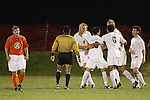 1 November 2006: Virginia's Adam Cristman (9) receives congratulations from teammates following his 23rd minute goal. Virginia defeated Clemson 2-0 at the Maryland Soccerplex in Germantown, Maryland in an Atlantic Coast Conference college soccer tournament quarterfinal game.