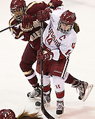 Kaliya Johnson (BC - 6), Jillian Dempsey (Harvard - 14) - The Boston College Eagles defeated the Harvard University Crimson 2-1 in the 2013 Beanpot opening round on Tuesday, February 5, 2013, at Matthews Arena in Boston, Massachusetts.