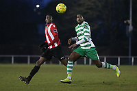 Sean Roberts of Hornchurch and Darrelle Russell of Waltham Abbey during AFC Hornchurch vs Waltham Abbey, Bostik League Division 1 North Football at Hornchurch Stadium on 13th January 2018