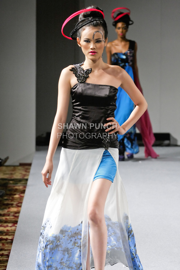 Tuyết Lan, Vietnam's Next Top Model 2010 walks the runway in an outfit from Sushma Patel Fall 2012 collection, during Couture Fashion Week New York, February 17, 2012.