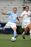 16 September 2005: Lindsay Tarpley (25) and Shannon Sullivan (13). The North Carolina Tarheels defeated the San Diego Toreros 3-0 at Duke University's Koskinen Stadium in Durham, NC in a NCAA Division I women's soccer game.