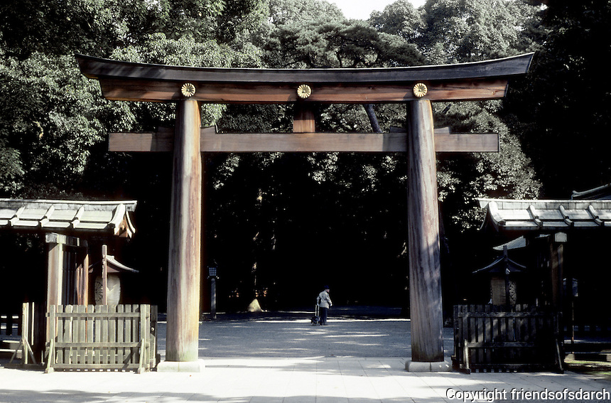 Tokyo: Mikji Shrine--Shinto Temple Gate. Photo '81.