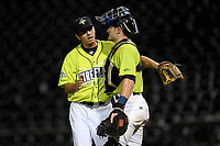 Closer Allan Winans (28) of the Columbia Fireflies is congratulated by catcher Hayden Senger (15) after throwing a game-ending strikeout that sealed a save in a 3-2 win over the Hickory Crawdads on Tuesday, August 27, 2019, at Segra Park in Columbia, South Carolina. (Tom Priddy/Four Seam Images)
