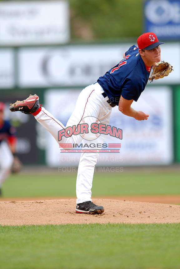 Lowell Spinners RHP MADISON YOUNGINER  during a game vs. the Mahoning Valley Scrappers at LeLacheur Park in Lowell,Massachusetts on August 15, 2010.   .  Photo By Ken Babbitt/Four Seam Images
