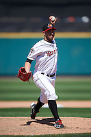 Rochester Red Wings relief pitcher Sean Burnett (21) delivers a pitch during a game against the Pawtucket Red Sox on June 29, 2016 at Frontier Field in Rochester, New York.  Pawtucket defeated Rochester 3-2.  (Mike Janes/Four Seam Images)