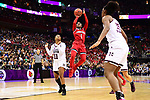 COLUMBUS, OH - MARCH 30: Dana Evans #1 of the Louisville Cardinals takes a shot as Roshunda Johnson #11 of the Mississippi State Bulldogs defends during a semifinal game of the 2018 NCAA Division I Women's Basketball Final Four at Nationwide Arena in Columbus, Ohio. (Photo by Ben Solomon/NCAA Photos via Getty Images)