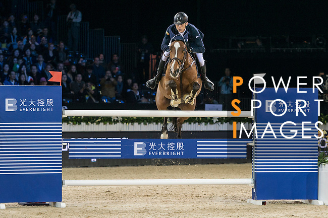Max Kuhner of Austria riding Electric Touch competes during the Longines Speed Challenge, part of the Longines Masters of Hong Kong on 11 February 2017 at the Asia World Expo in Hong Kong, China. Photo by Marcio Rodrigo Machado / Power Sport Images
