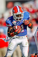 January 02, 2012:    Florida Gators running back Chris Rainey (1) carries the ball during first half action at the 2012 Taxslayer.com Gator Bowl between the Florida Gators and the Ohio State Buckeyes at EverBank Field in Jacksonville, Florida.