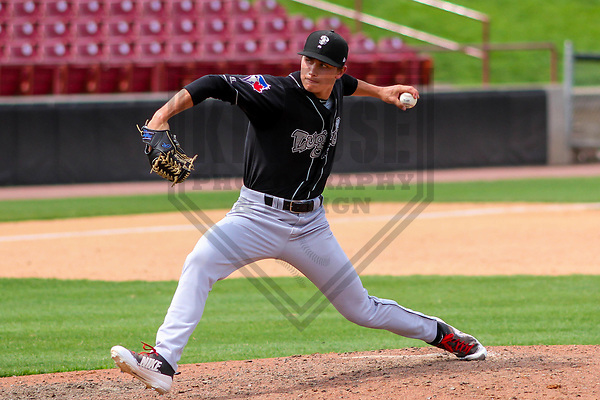 Lansing Lugnuts pitcher Brody Rodning (32) during a Midwest League game against the Wisconsin Timber Rattlers on May 8th, 2018 at Fox Cities Stadium in Appleton, Wisconsin. Lansing defeated Wisconsin 11-4. (Brad Krause/Krause Sports Photography)