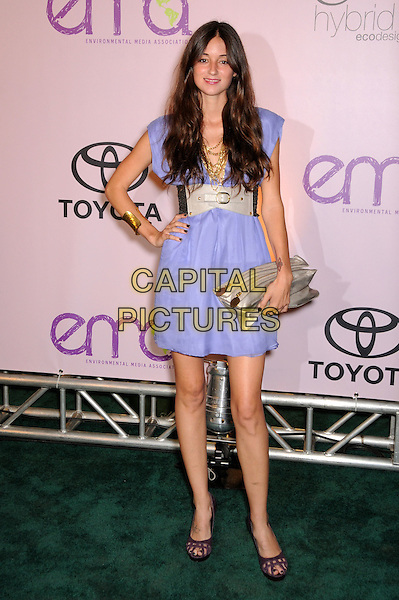CAROLINE D'AMORE .2009 Environmental Media Awards held at Paramount Studios, Los Angeles, California, USA..October 25th, 2009.EMA EMA's EMAS full length purple blue dress hand on hip beige silver gold waist clutch bag shoes hand on hip.CAP/ADM/BP.©Byron Purvis/AdMedia/Capital Pictures.