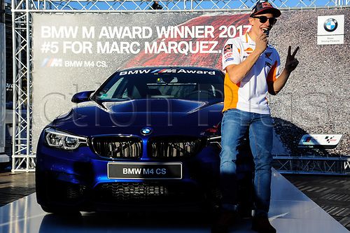 11th November 2017, Gran Premio Motul de la Comunitat Valenciana, Valencia, Spain; MotoGP of Valencia, Saturday qualifying; Marc Marquez wins the BMW M Award
