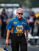 Aug 18, 2018; Brainerd, MN, USA; Rahn Tobler, crew chief for NHRA funny car driver Ron Capps during qualifying for the Lucas Oil Nationals at Brainerd International Raceway. Mandatory Credit: Mark J. Rebilas-USA TODAY Sports