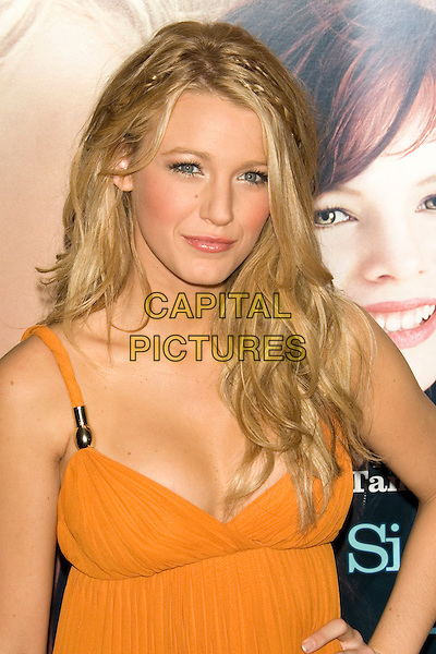 "BLAKE LIVELY (wearing Gucci maxi dress).World Premiere of ""The Sisterhood of the Traveling Pants 2"" at the Ziegfeld Theatre, New York, NY, USA..July 28th, 2008 .Travelling half length yellow low cut neckline braids plaits hair .CAP/LNC/TOM.©TOM/LNC/Capital Pictures."