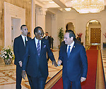 Egyptian President Abdel Fattah al-Sisi meets with Chadian President Idriss Deby, in Cairo, Egypt, on April 24, 2019. Photo by Egyptian President Office
