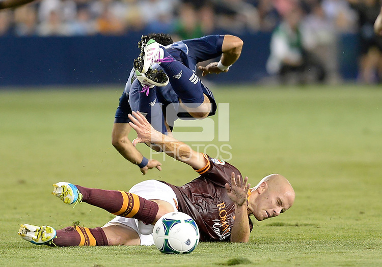 kansas City, KS - Wednesday July 31, 2013:  AS Roma midfielder Michael Bradley (4 battles for a loose ball during the MLS All Star Game between the MLS All Stars and AS Roma at Sporting KC Park in Kansas City, Ks. MLS All Stars lost 3-1