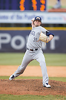 UNCG Spartans relief pitcher Keaton Haack (36) delivers a pitch to the plate against the High Point Panthers at Willard Stadium on February 14, 2015 in High Point, North Carolina.  The Panthers defeated the Spartans 12-2.  (Brian Westerholt/Four Seam Images)
