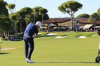 Tom Lewis (ENG) plays his 2nd shot on the 18th hole during Friday's Round 2 of the 2018 Turkish Airlines Open hosted by Regnum Carya Golf &amp; Spa Resort, Antalya, Turkey. 2nd November 2018.<br /> Picture: Eoin Clarke | Golffile<br /> <br /> <br /> All photos usage must carry mandatory copyright credit (&copy; Golffile | Eoin Clarke)