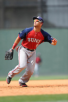 First baseman Jose Marmolejos-Diaz (6) of the Hagerstown Suns, fields a pop fly in a game against the Greenville Drive on May 12, 2015, at Fluor Field at the West End in Greenville, South Carolina. Greenville won, 4-0. (Tom Priddy/Four Seam Images)